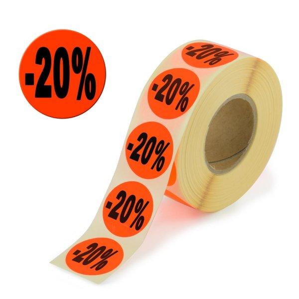"Aktionsetiketten leuchtrot ""-20%"" 32 mm, permanent"