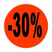 "Aktionsetiketten leuchtrot ""-30%"" 32 mm, permanent"