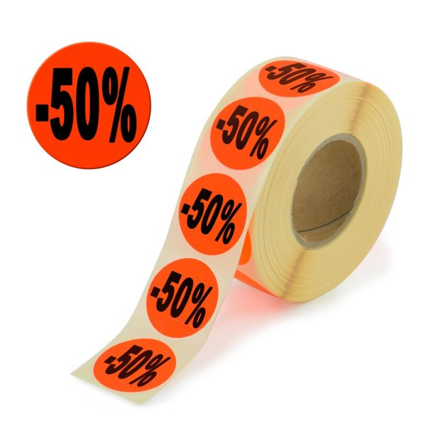 "Aktionsetiketten leuchtrot ""-50%"" 32 mm, permanent"