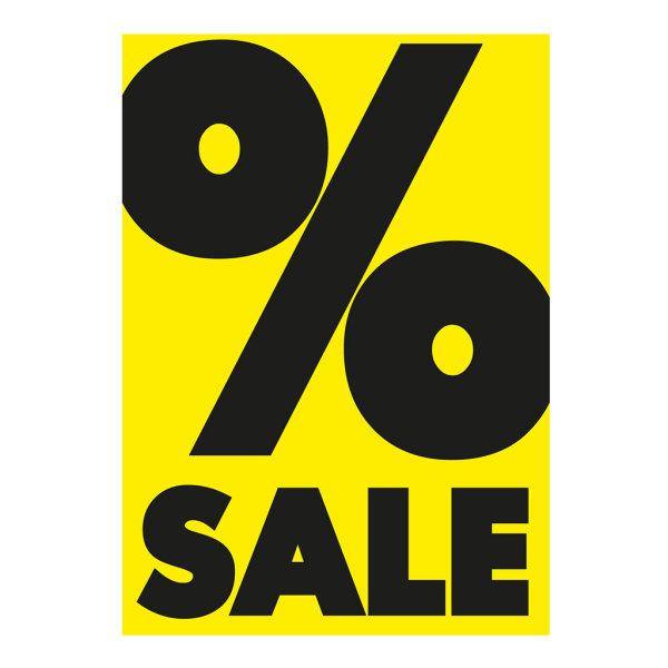 Werbeplakate DIN A4 -% SALE- gelb/schwarz