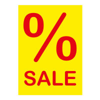 Werbeplakate DIN A4 -% SALE- gelb/rot