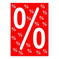 Werbeplakate DIN A4 -% Prozent- rot/weiß