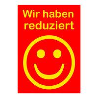 Werbeplakate DIN A4 -Wir haben reduziert- rot/gelb