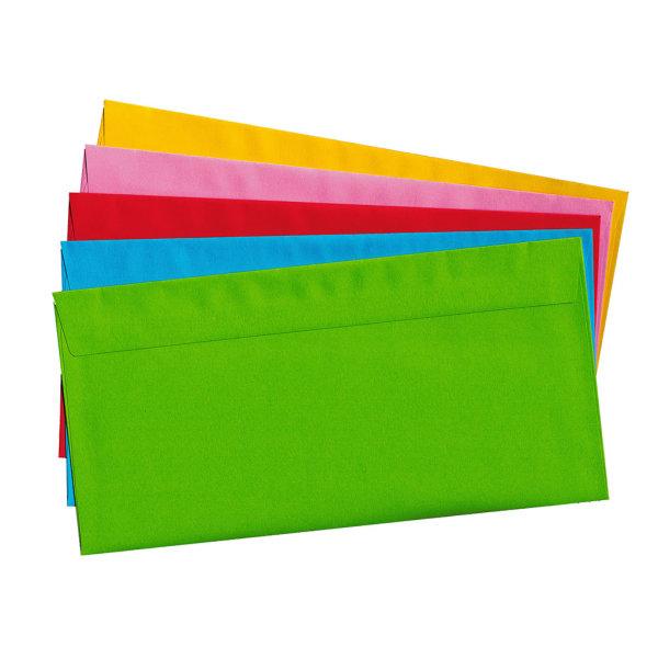 20 Briefumschläge nassklebend DIN lang, bunt 5 Farben