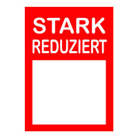 Werbeplakate DIN A4 -STARK REDUZIERT- rot/weiß, mit Textfeld