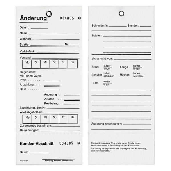 200 Änderungskarten mit Öse -TESTPACK-