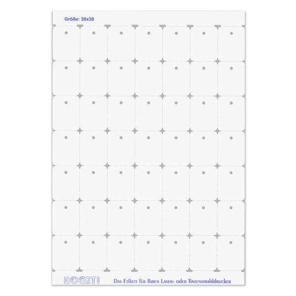 30x38 mm BOGETI Kartonetiketten -TESTPACK- DIN-A4 Bogen