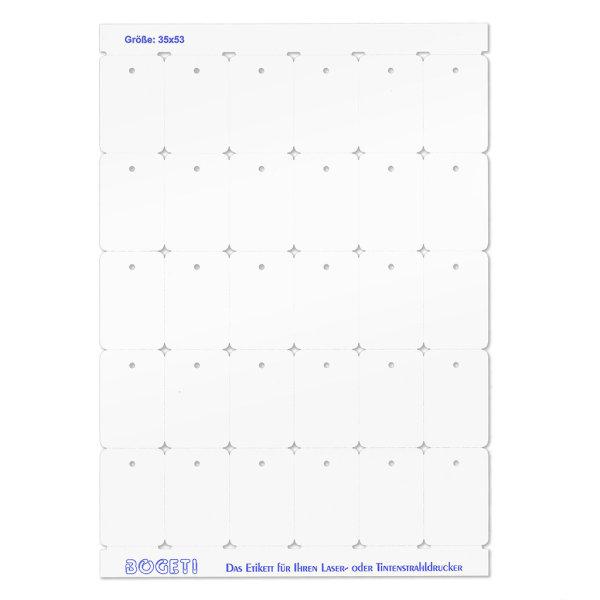 35x53 mm BOGETI Kartonetiketten, DIN-A4 Bogen