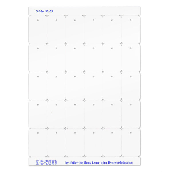 35x53 mm BOGETI Kartonetiketten -TESTPACK- DIN-A4 Bogen