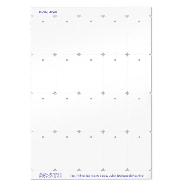 42x67 mm BOGETI Kartonetiketten -TESTPACK- DIN-A4 Bogen