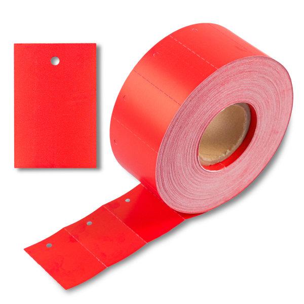 30x45 mm Kartonetiketten auf Rolle, rot